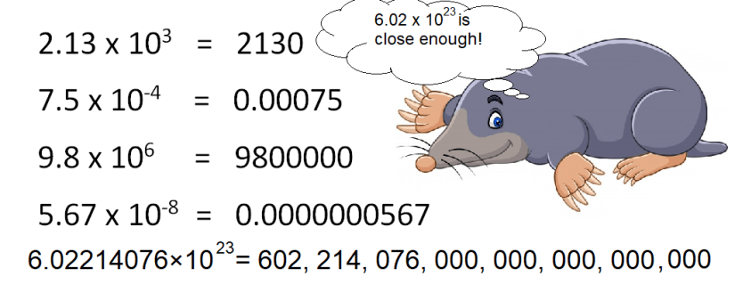 This image reminds the student what scientific notation is all about.