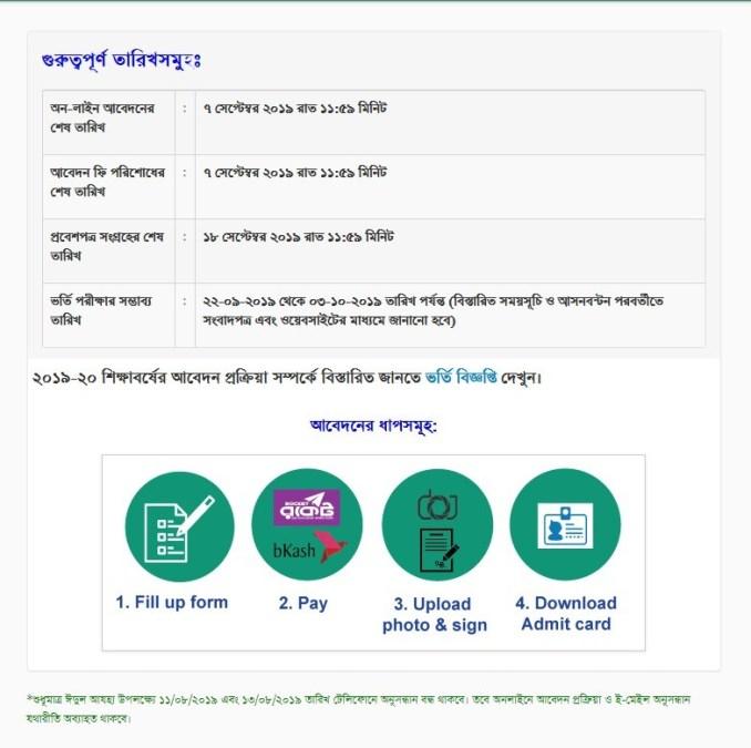 JU Admission information 2020-21