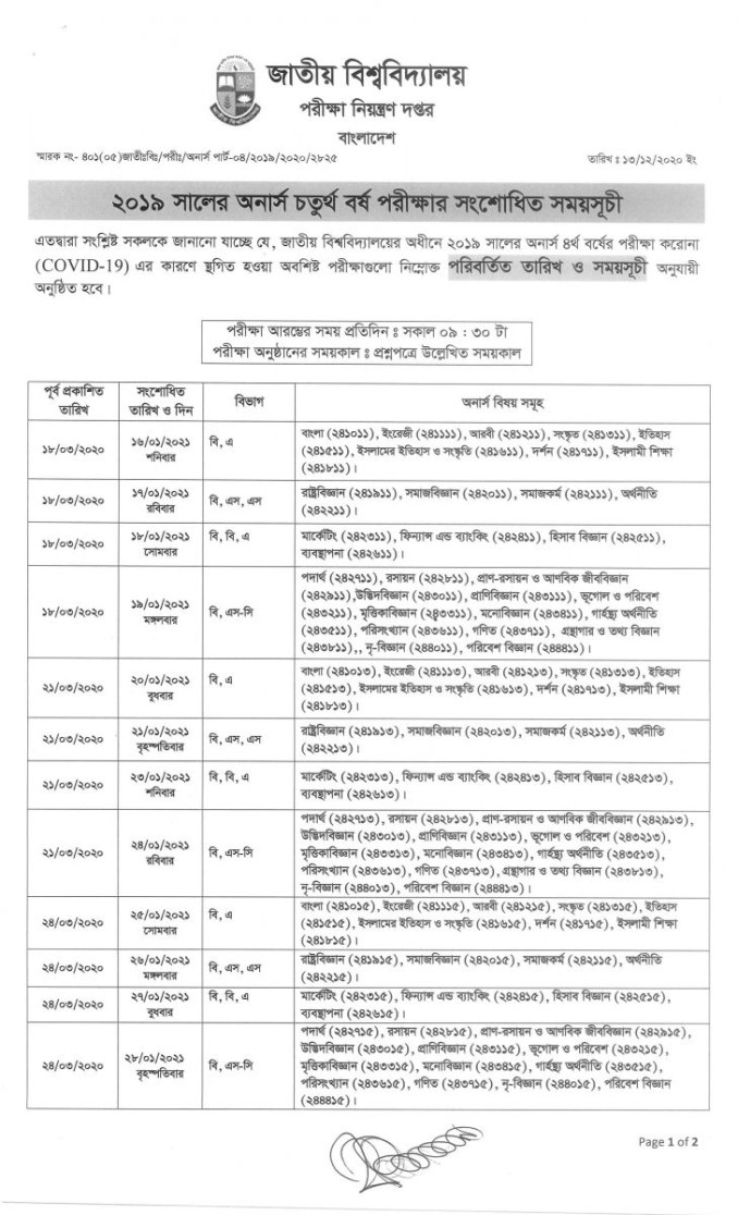nu-honours-4th-year-exam-routine