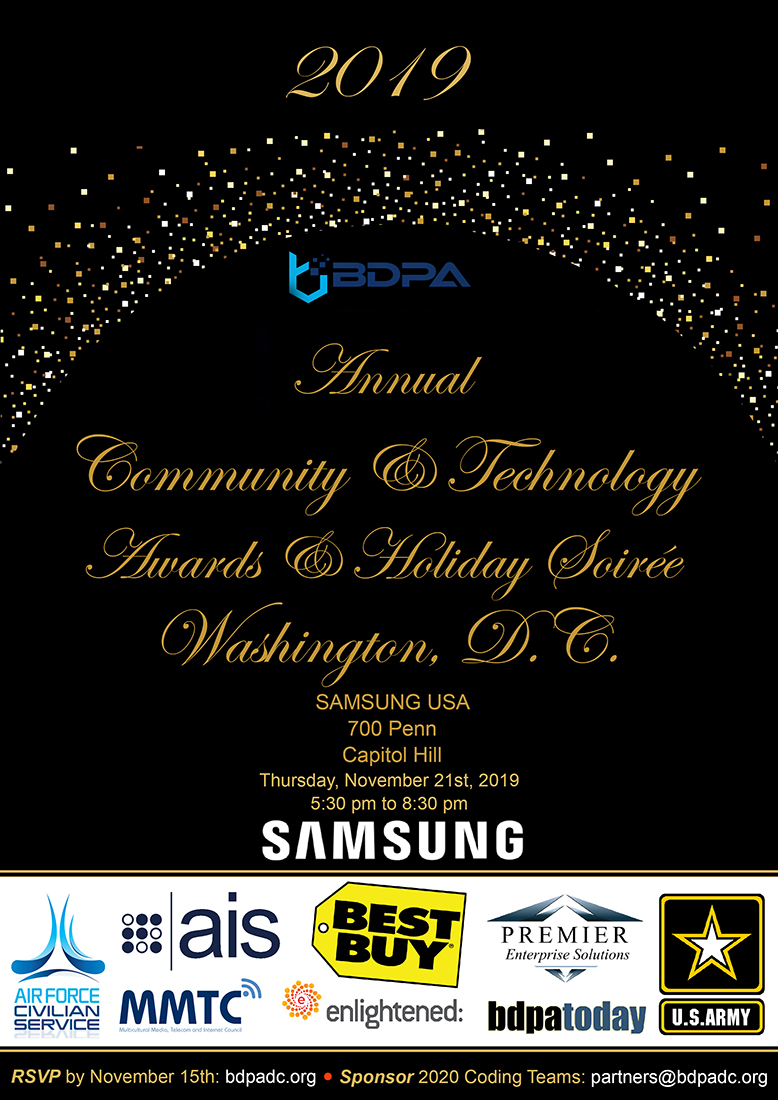 Tickets are available now from your Host BDPA Chapter. Select here to RSVP before November 15th.