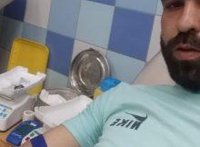Mohamed donating blood
