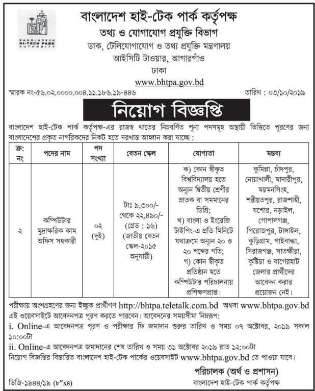 Bangladesh Hi Tech Park Authority Recent Job Circular 2019