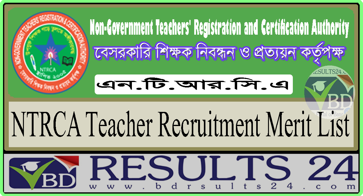 NTRCA Merit List Result 1 to 17 Published 2021