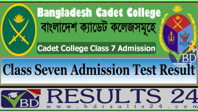 Cadet College Result Admission Test Class Seven