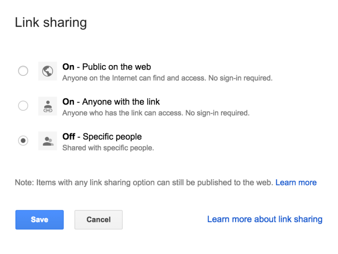 Google docs sharing settings