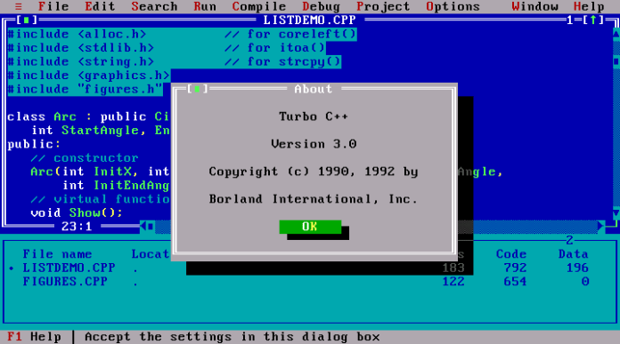 borland turbo c++