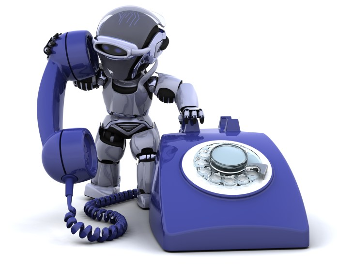 robot with a traditional telephone