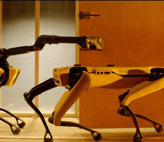 Boston Dynamics spot robot opening door