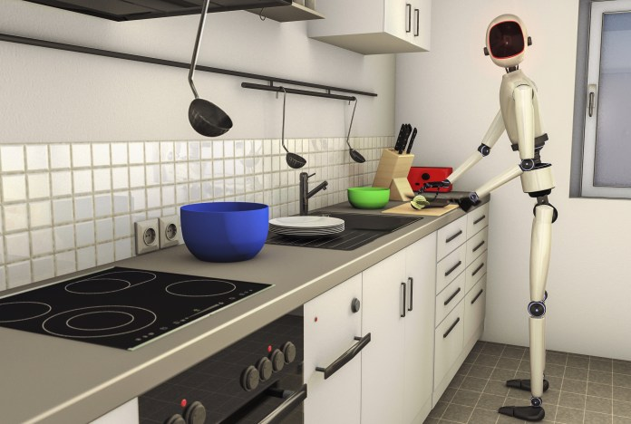 Robot working in kitchen
