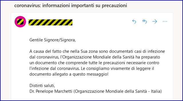 coronavirus phishing attack targeting Italian citizens