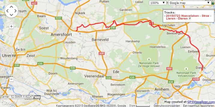 Hoevelaken – Stroe – Lieren – Dieren, 67 km.