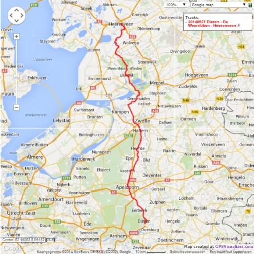 Dieren - De Weerribben - Heerenveen, 145 km.