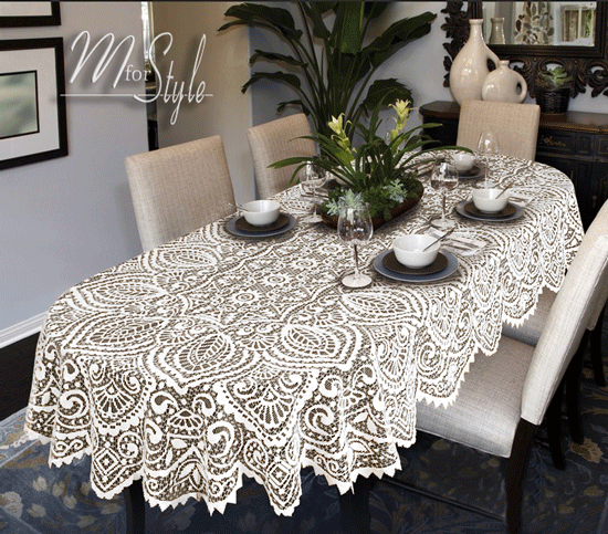Image result for white lace tablecloth