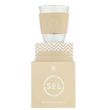 SoL Reusable Glass Cup Coastal Cream