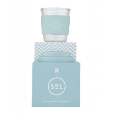 SOL CUPS - Re-usable glass coffee cup Cool Cyan