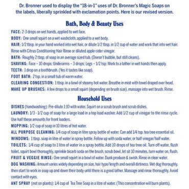Dr. Bronner's Pure-Castile Liquid Soap 18 in 1 uses