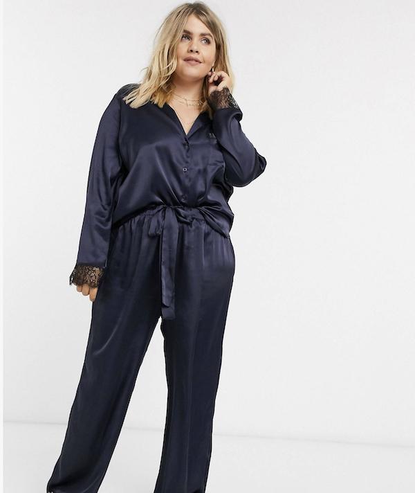 Satin Navy Pajama Set