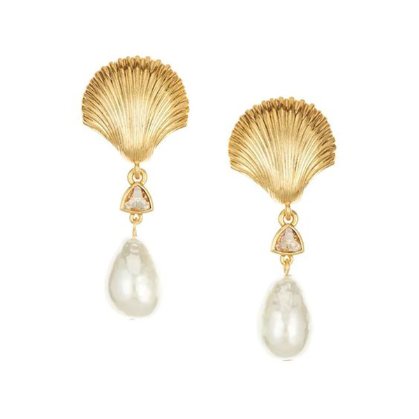 A pair of earrings crafted from metal scallop shells and pearls.