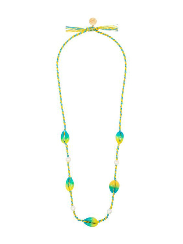 A blue and yellow woven necklace with painted cowrie shells on it.