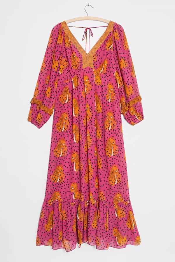 A plus-size printed maxi dress.