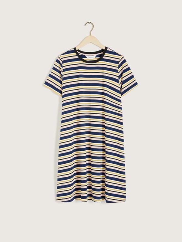 A plus-size striped T-shirt dress.