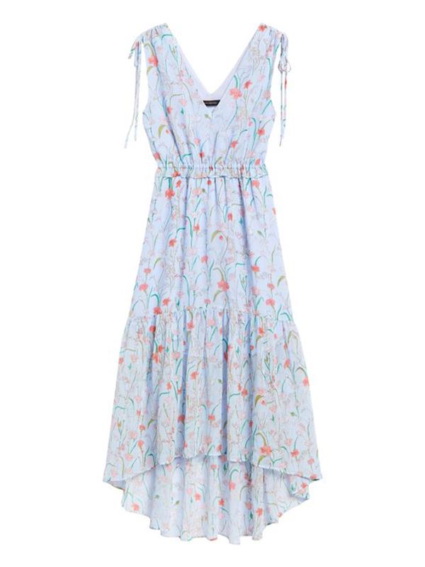 A plus-size, light blue, floral midaxi dress.