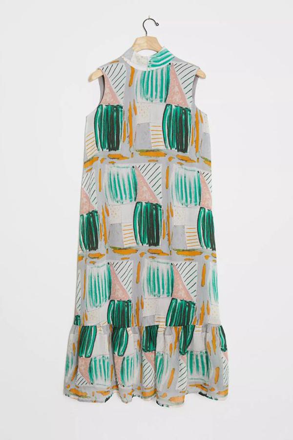 A plus-size printed shift dress.