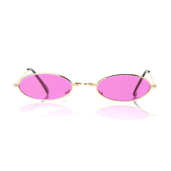 A pair of neon pink tiny sunglasses.