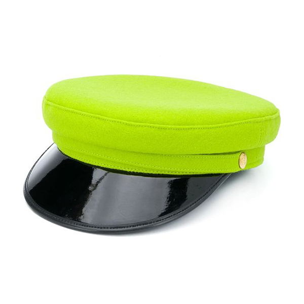 A neon green paperboy cap.