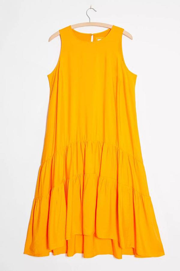 A neon orange smock dress.