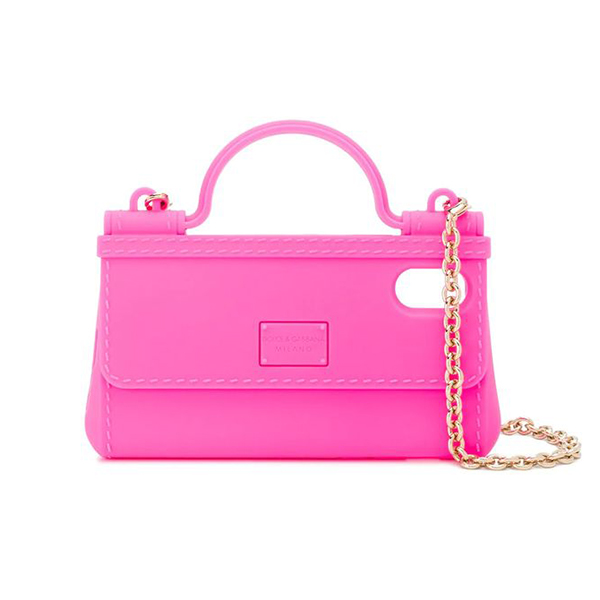 A neon pink phone case shaped like a small purse.