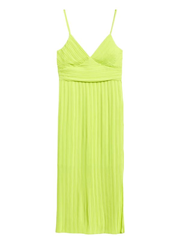 A neon yellow-green dress.