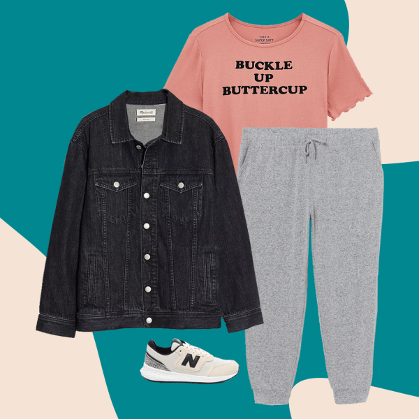 A collage with a black denim jacket, gray sweatpants, pink t-shirt, and sneakers.