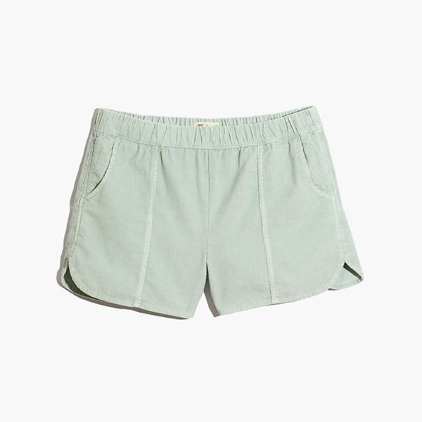 Plus-size mint corduroy shorts.