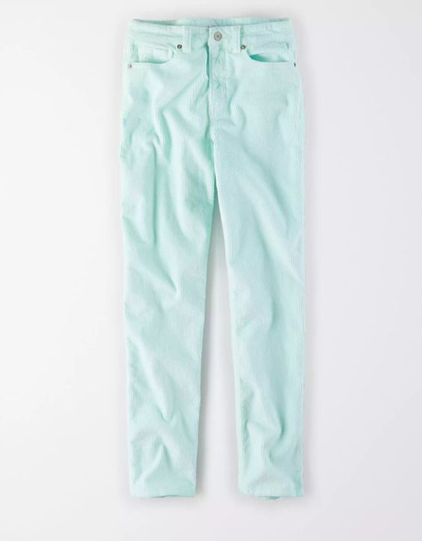 A pair of plus-size mint corduroy pants.