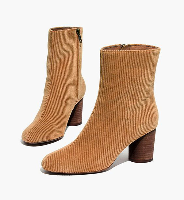 A pair of corduroy ankle boots.