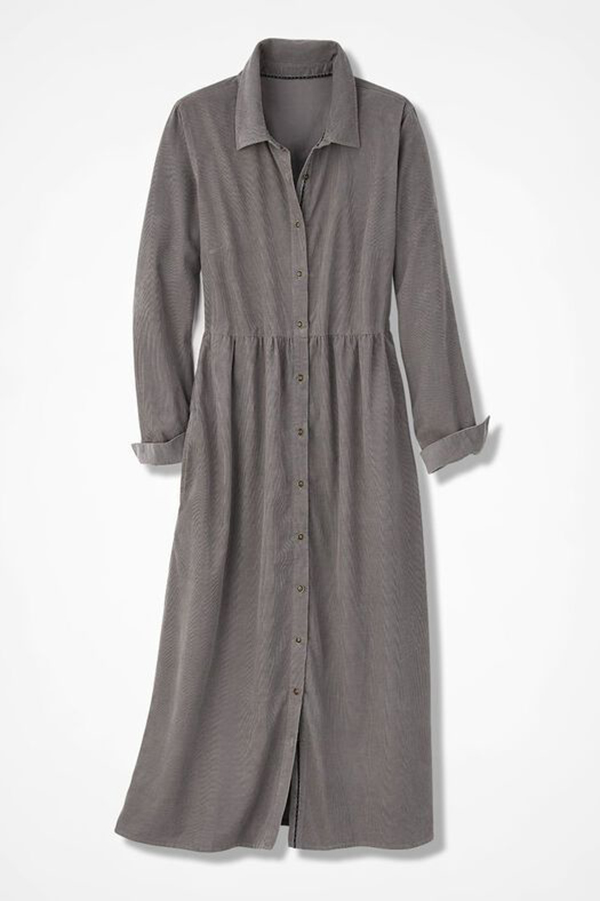 A plus-size corduroy dress.