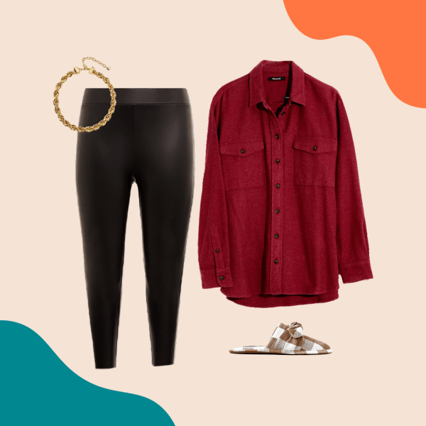 A collage with faux leather leggings, a gold necklace, brown and white slipper mules, and a red button down.