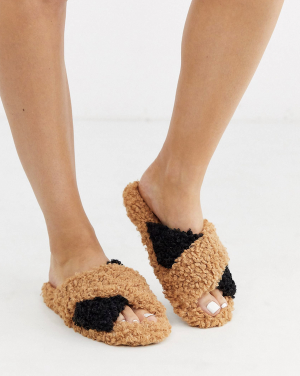 Brown and Black Fuzzy Slippers