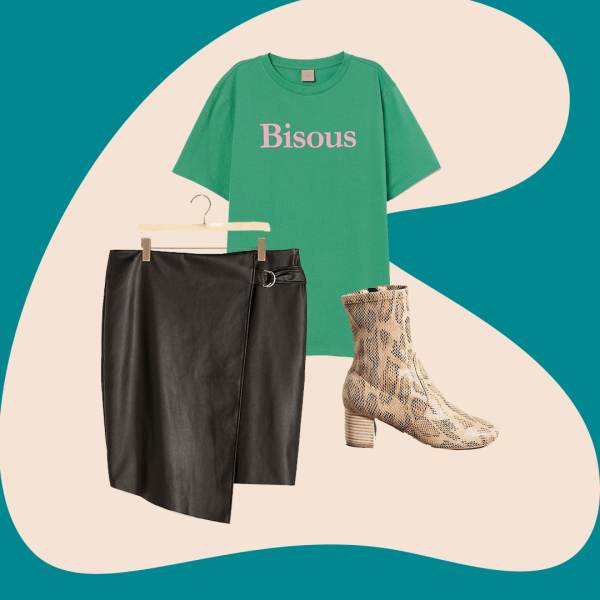 Black Leather Skirt, Green Graphic Tee, Animal Print Boots