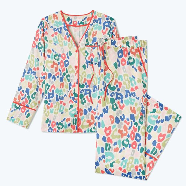A plus-size colorful animal print pajama set.