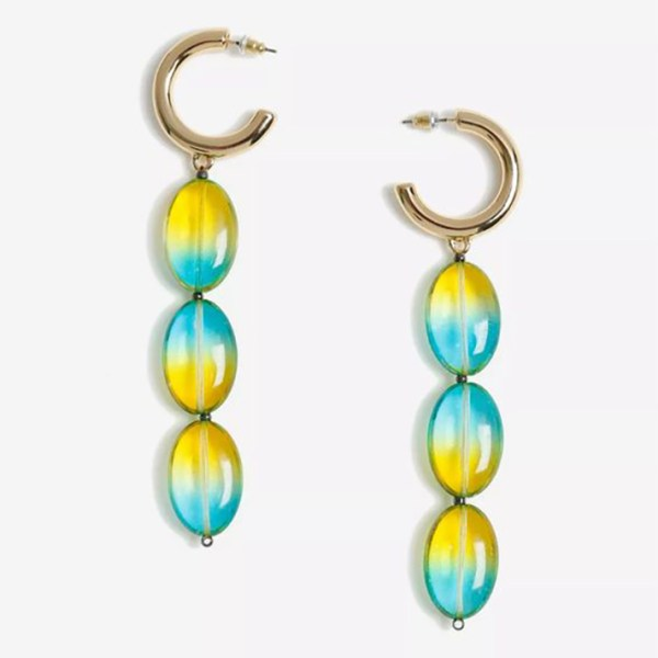 Drop earrings crafted from aqua and yellow ombre beads