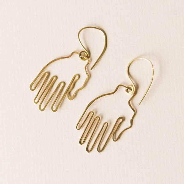 Metal drop earrings shaped like outlined hands