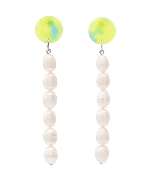 Drop earrings crafted from imperfectly shaped pearls and yellow and blue studs