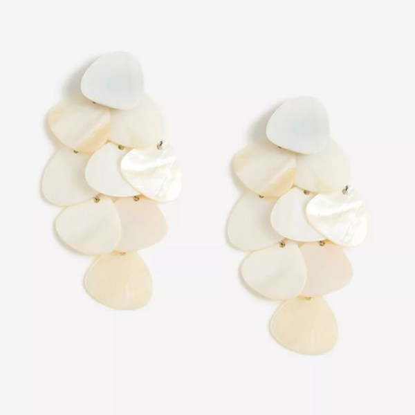 Drop earrings crafted from flat, pearlescent beads