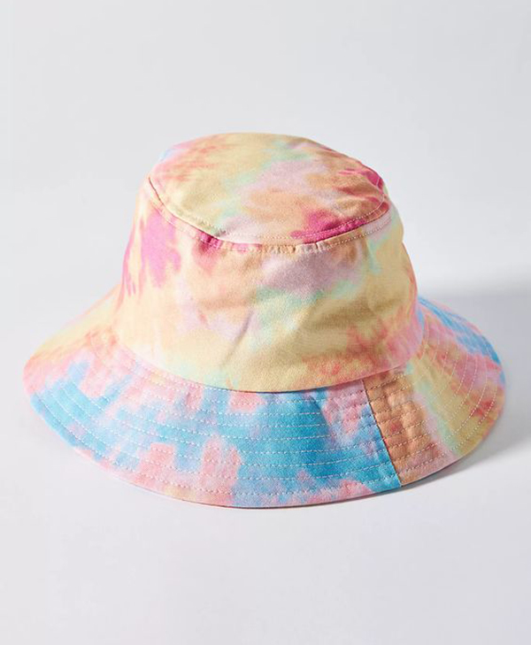 A rainbow tie-dye bucket hat.