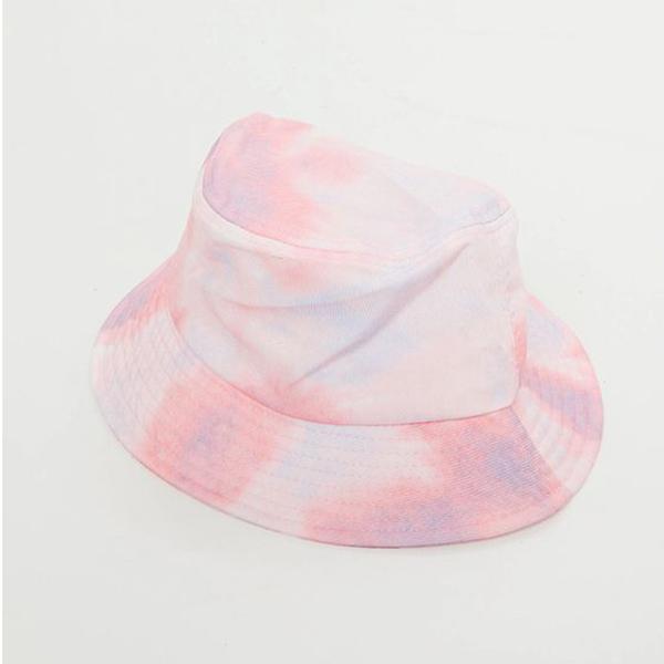 A light pink tie-dye bucket hat.