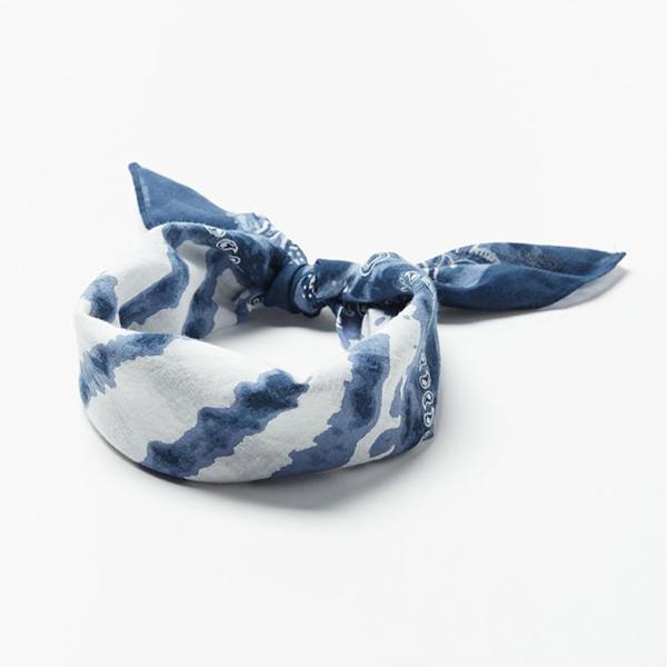 A navy tie-dye bandana.