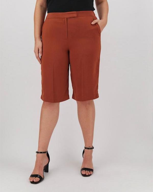 brown tailored bermuda shorts