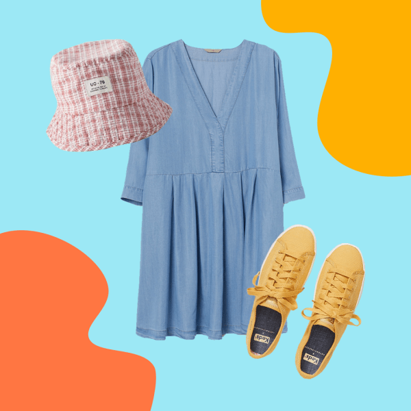 pink bucket hat, denim dress, and yellow sneakers